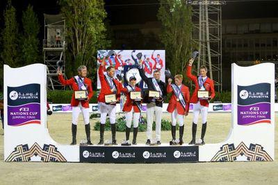 Podium de la finale des Coupes des nations Furusiyya FEI largeL