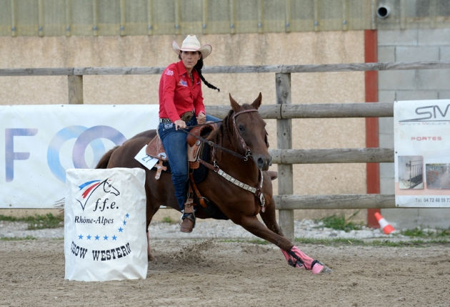 Western 2015-Laura Clement Chpt France Barrel Racing Amat 1 sur Heart Oak Enterprise
